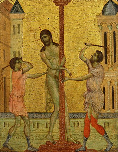 - Oil Painting 'Cimabue (Cenni Di Peppo) - The Flagellation Of Christ, C. 1280', 30 x 39 inch / 76 x 98 cm , on High Definition HD canvas prints is for Gifts And Bar, Gym And Home Theater Decoration