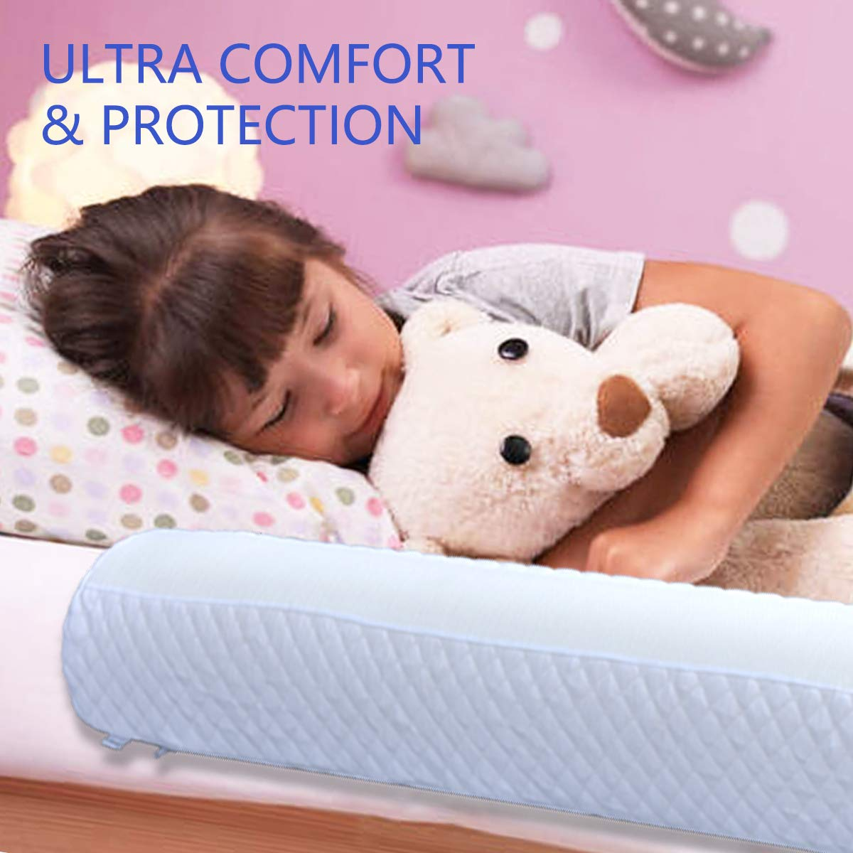 Bed Side Rail Safety Guard with Waterproof Cover Foam Bed Bumpers for Kids 2-Pack Toddler Bed Rail Bumper,