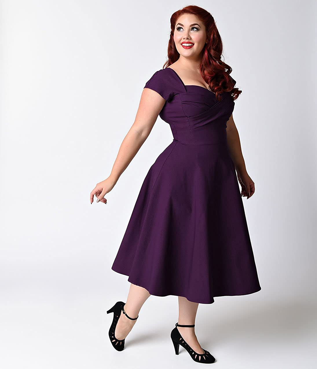 d0495854e7d Plus Size Mad Style Eggplant Cap Sleeve Swing Dress at Amazon Women s  Clothing store