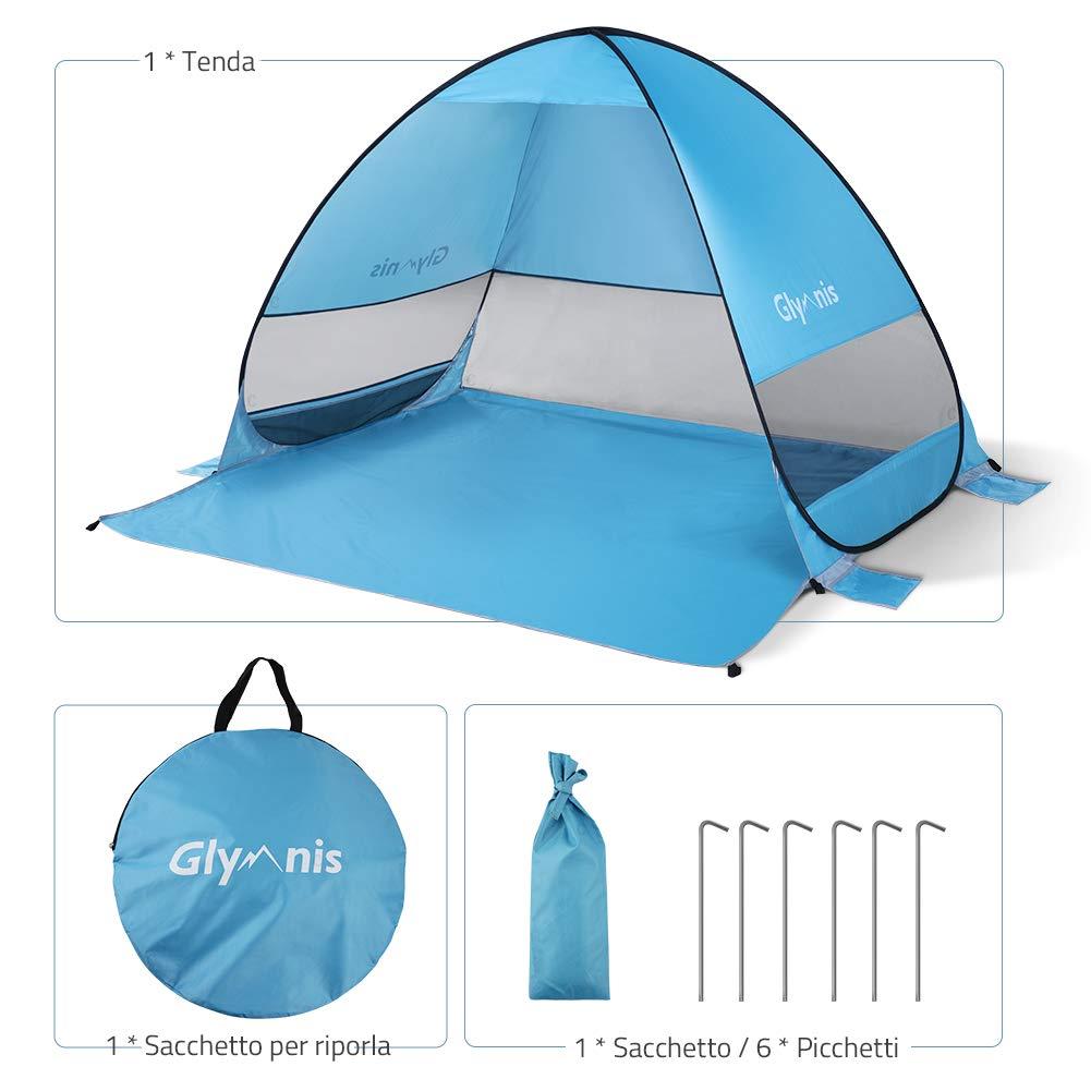de Gran Tama/ño 200/×165/×130 cm Azul Glymnis Tienda de Campa/ña Pop Up 3-5 Personas Tienda de Playa port/átil UPF 50