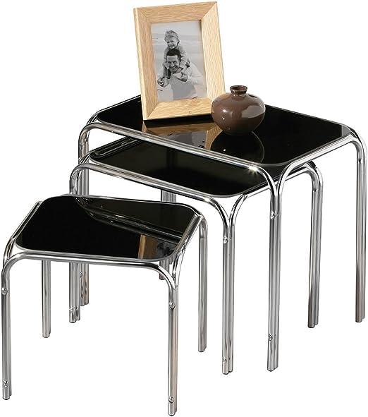 ultimatesalestore Juego de 3 mesas Nido de Cristal Negro Patas ...