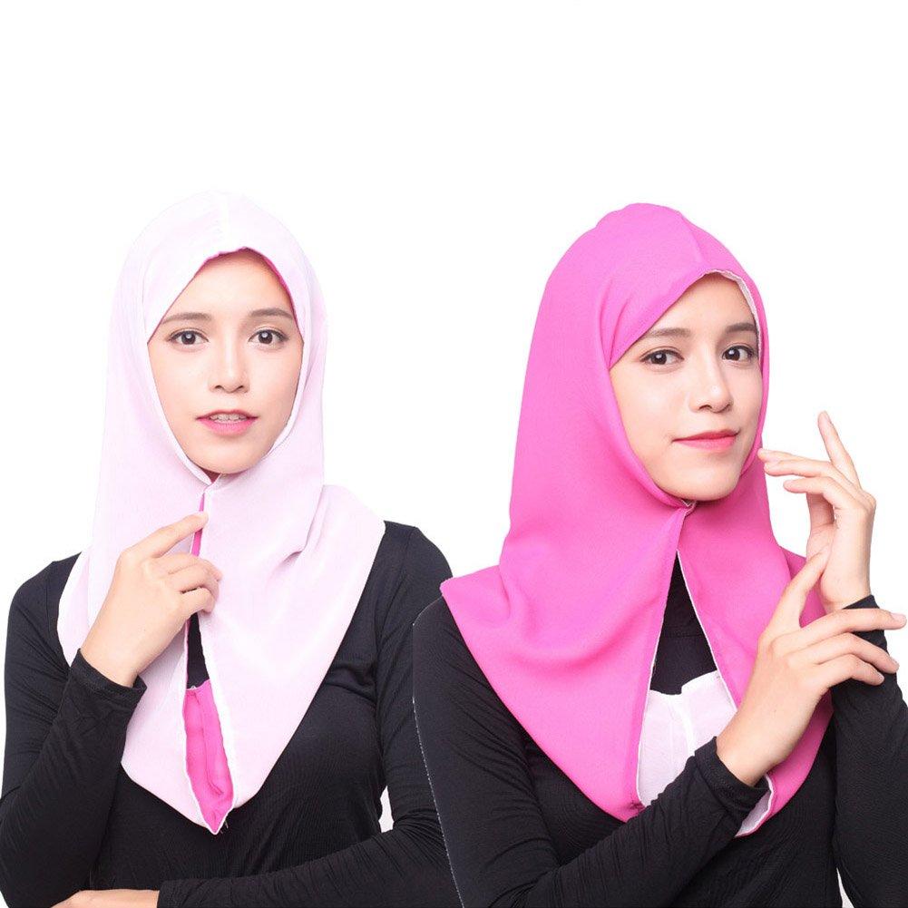 AxssjS Damen Muslim Hijab Elegant Chiffon Kopfbedeckung islamisches Haar Ohrensch/ützer Light Green Light Yellow