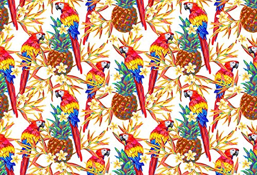 (AOFOTO 10x7ft Macaws Perch at Flower Sprigs Photography Background Watercolor Pineapple Summer Tropical Backdrop Hawaii Luau Fashion Party Decoration Photo Studio Props Adult Portrait Vinyl Wallpaper)