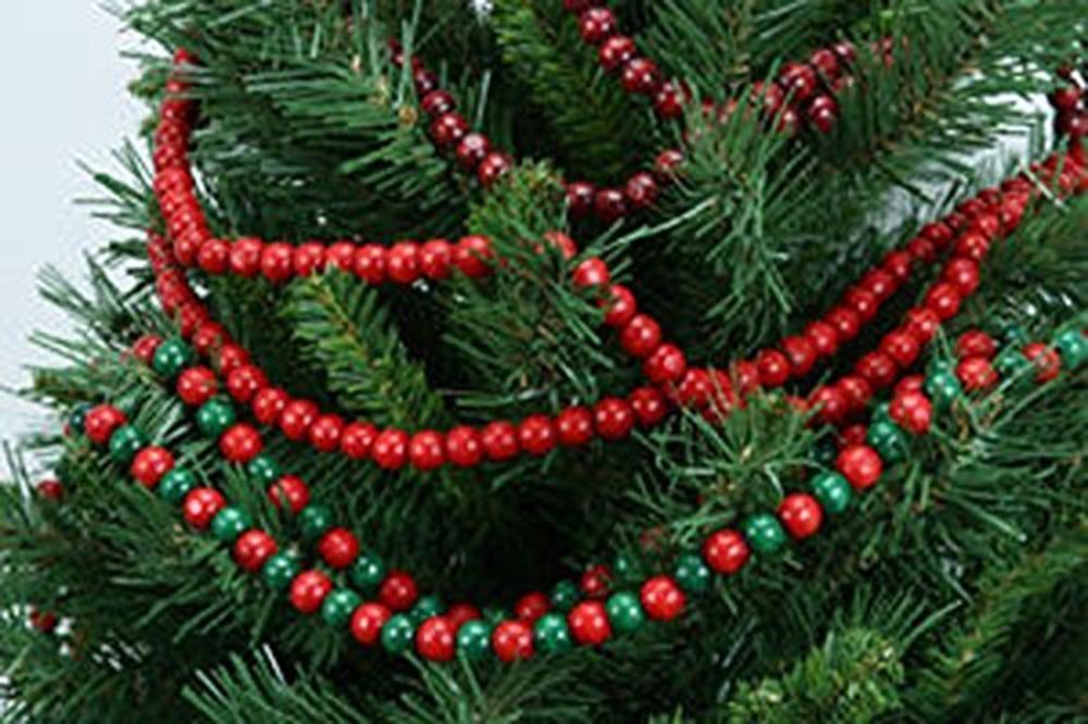 Christmas Wooden Bead Garland BURGUNDY 18 Ft Old Fashion Looking Christmas Tree Decor