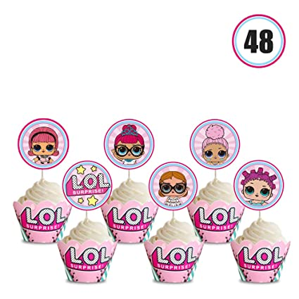 48 LOL Cupcake Toppers & Liners Set, Cake Decorations Topper Wrapper for Girl Theme Birthday Party