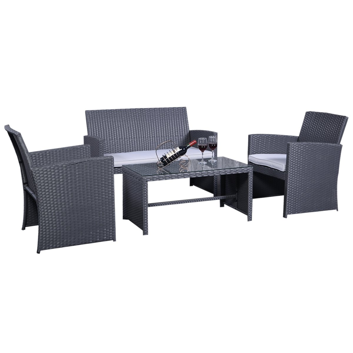 rattanm bel set gartenm bel rattan lounge polyrattan sitzgruppe garnitur garten grau g nstig. Black Bedroom Furniture Sets. Home Design Ideas