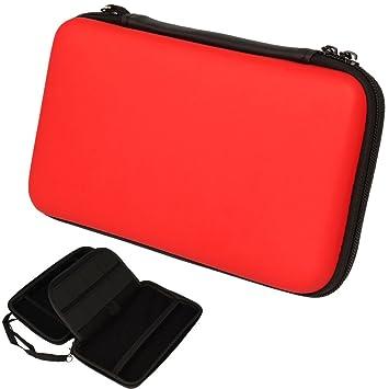 TECHGEAR Carcasa Compatible con Nintendo 2DS XL - Funda Dura Protectora de Viaje y Llevar para 2DS XL + Tarjetas de Juego + Accesorios [Roja]