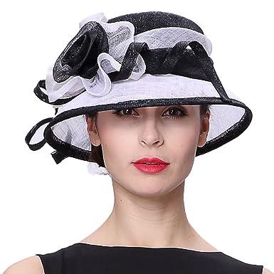 7a408e84b6d Koola s Hats Church Hats Sinamay Wedding Hats Black White Sun Derby Women  Hats