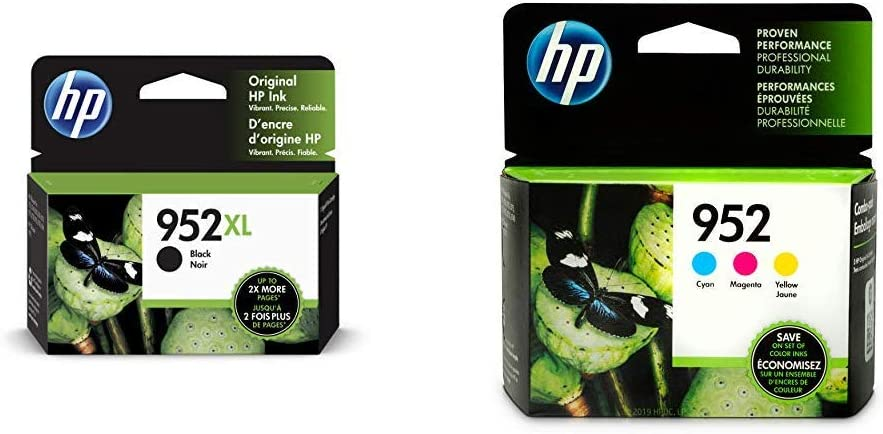 HP 952XL Black Ink Cartridge (F6U19AN) & 952 Cyan, Magenta & Yellow Ink Cartridges, 3 Cartridges (L0S49AN, L0S52AN, L0S55AN)