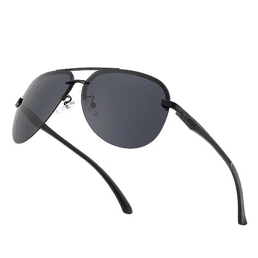 dc8372b1b9 CGID GA43 Premium Al-Mg Alloy Rimless Pilot Polarized Sunglasses UV400