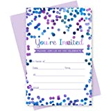 Purple Confetti Party Invitations with Envelopes Set of 15