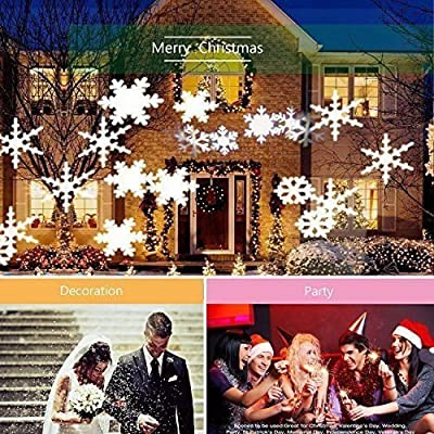 New MTN-G 5 pcs White Xmas Snowflake Outdoor Projection Lamp LED Home Decor Lights Party HM - Snowflake Projector Light