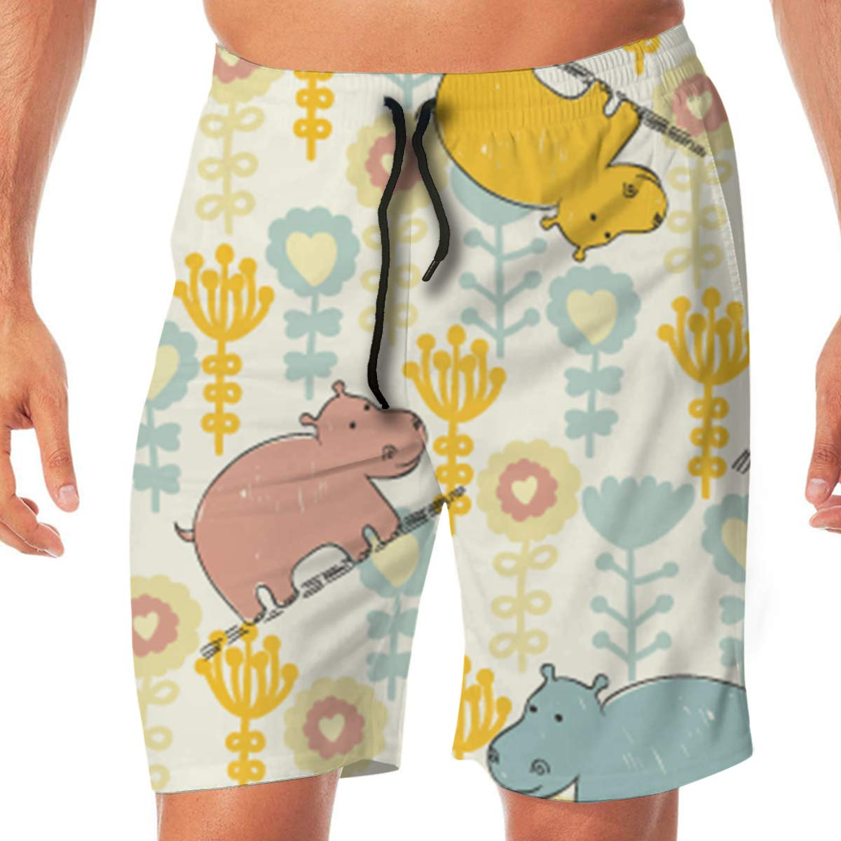 Flying XIE Hippo Flowers Mens Crazy Beach Shorts Surf Board Breathable Swim Trunks