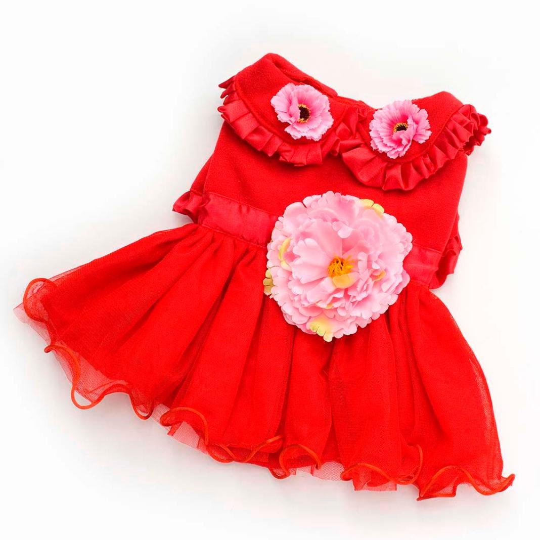 Mikey Store Pet Dog Dress Peony Style Small Pet Cat Skirt Puppy Winter Apparels (M, Red)