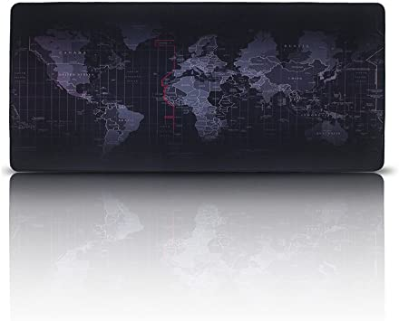 Alfombrilla de Ratón para Gaming , EETCK Mousepad Mapa del Mundo Tamaño Grande XXL 35.43x15.74 Inch para el Ratón y Teclado