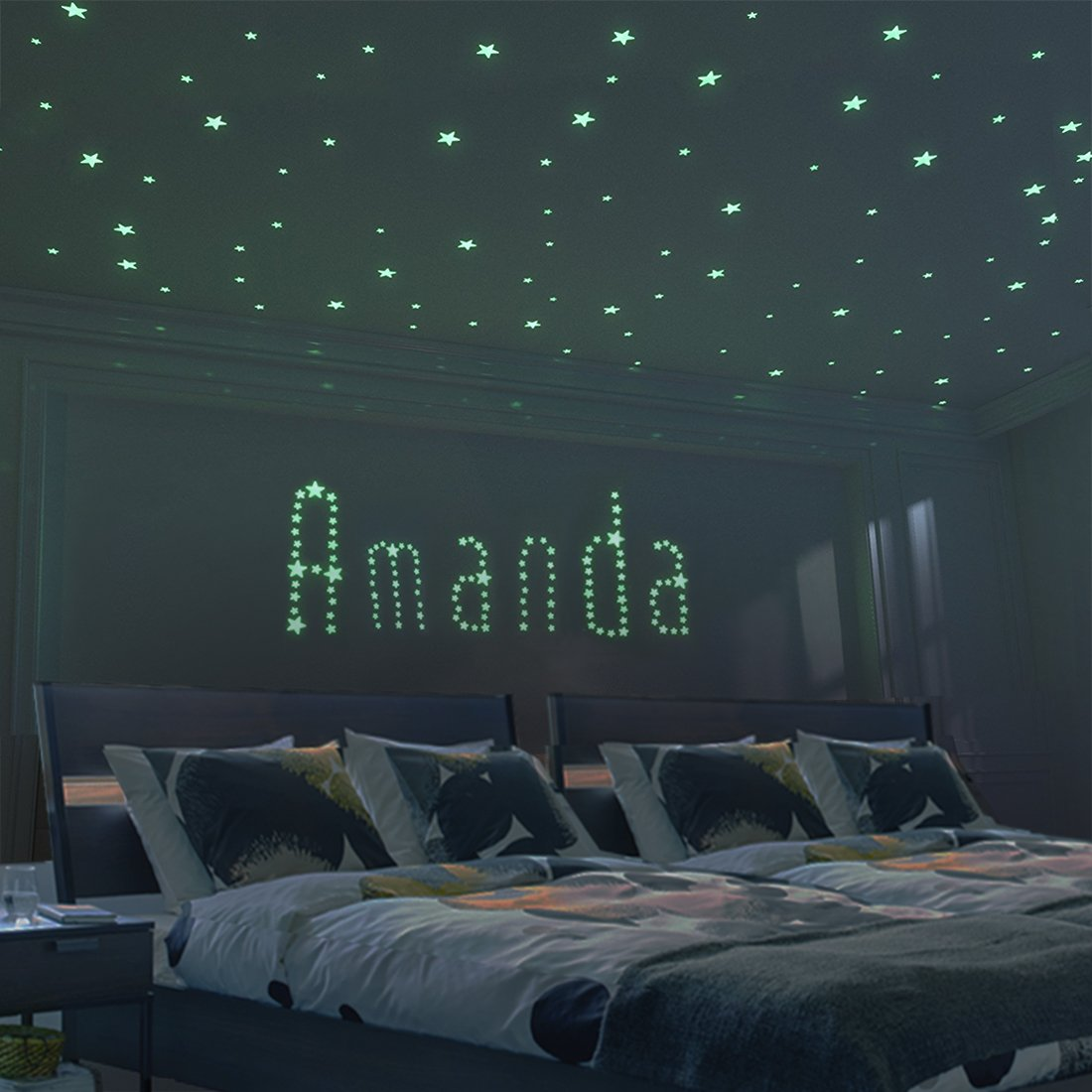 Glow in The Dark Moon and Stars - 300PCS - 9.4'' Large Moon and Various Size Fluorescent Stars for Ceiling Decoration in Kids Room by FRETOD (Image #3)