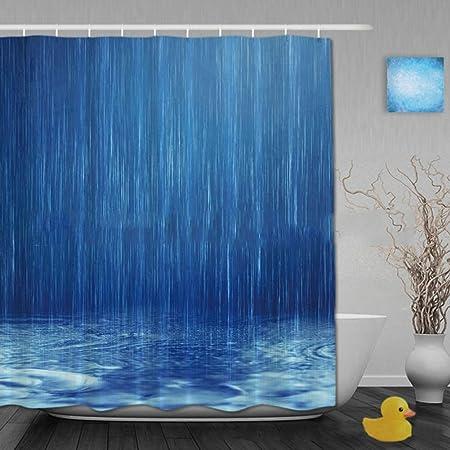 CLEAVE WAVES Cortina de baño, Gota de Lluvia Azul Impermeable a ...