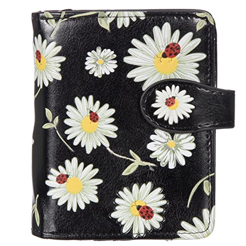 Shagwear Women's Small Daisies and Ladybugs Wallet w/ Zipper (Black)