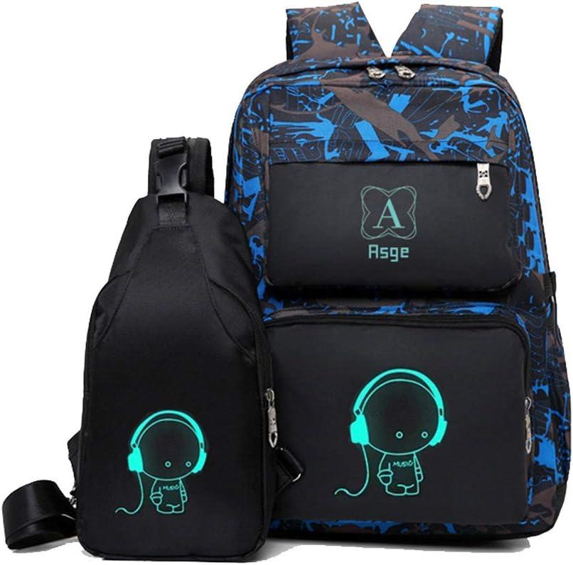 Asge Backpacks for Boys School Bags for Kids Luminous Bookbag and Sling Bag Set