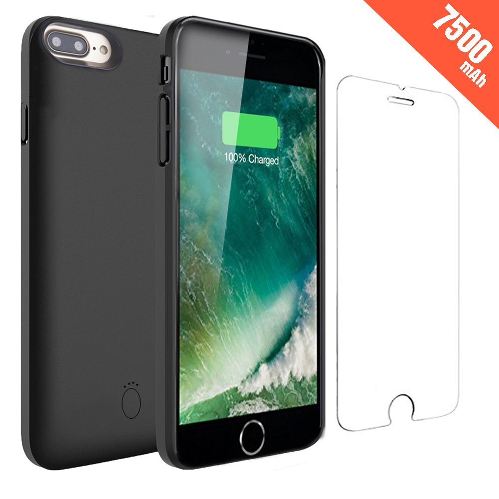 iPhone 8 Plus Battery Case - Hathcack 7500mAh Portable Battery Charger Case for iPhone 8 Plus/7 Plus/6 Plus/6s Plus Extended Battery Pack Protective Charging Case/Lightning Cable Input Mode(Black)