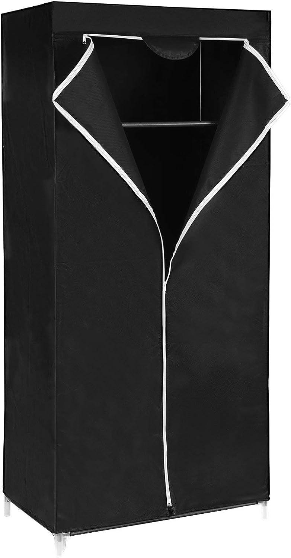 SONGMICS Armario de Tela, Resistente al Polvo, para Ropa, Zapatos y Cajas de Almacenamiento, 160 x 75 x 45 cm, Negro RYG83H