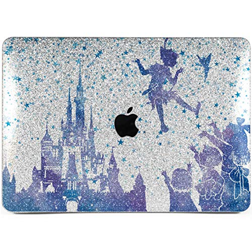 Lex Altern Glitter Case MacBook Pro 13 inches 15 12 Air 11 Cute 2018 2017 Black Sparkly Disney Peter Pan Bling Matte Cover Hard Silver Tinker Bell Apple 2017 Castle Laptop Protective Kids Touch Bar]()
