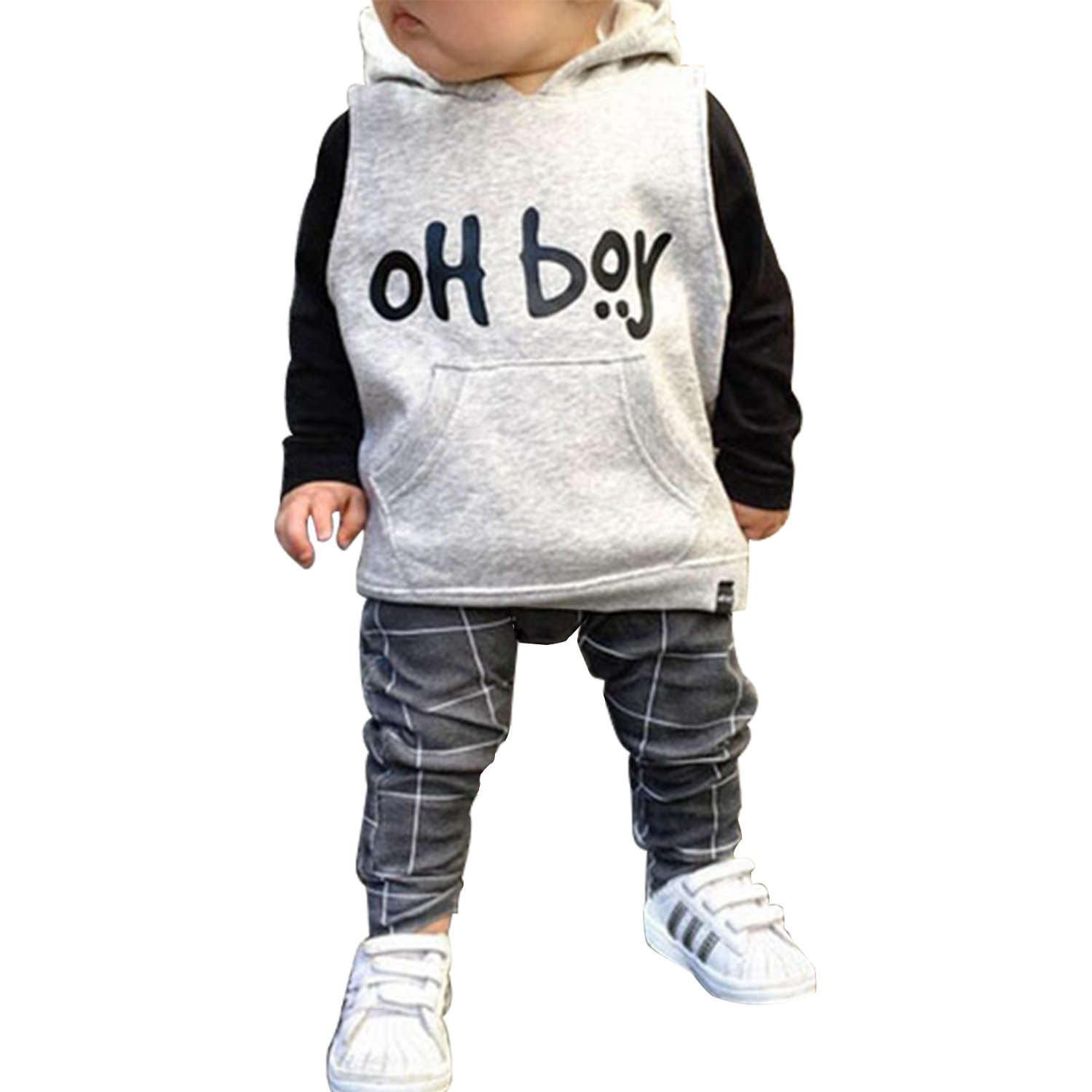 De feuilles Baby Boys Hooded Outfits Long Sleeve Pullover Sweatshirt Tops + Pants Clothes Clothing Set