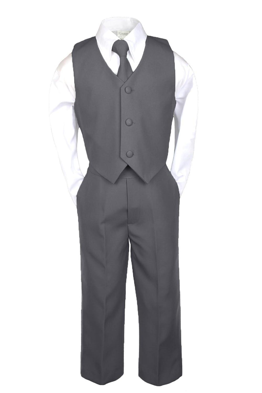 6pc Formal Boy Dark Gray Vest Set Suits Extra Satin Lilac Necktie S-20 18