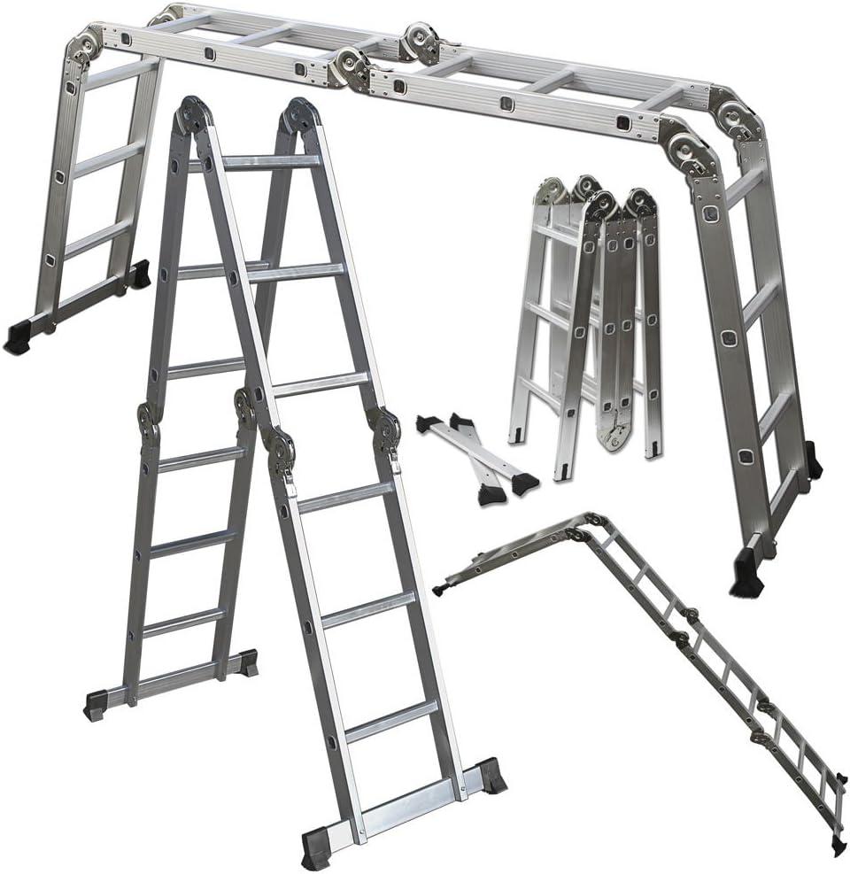 Andamio escalera Heavy Duty gigante aluminio 12,5 ft multiusos plegable paso ampliar: Amazon.es: Bricolaje y herramientas
