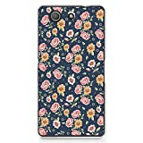 Hard Plastic Case for Sony Z3 Compact, CasesByLorraine Vintage Navy Blue Floral Flower Pattern PC Case Plastic Cover for Sony Xperia Z3 Compact (P19)