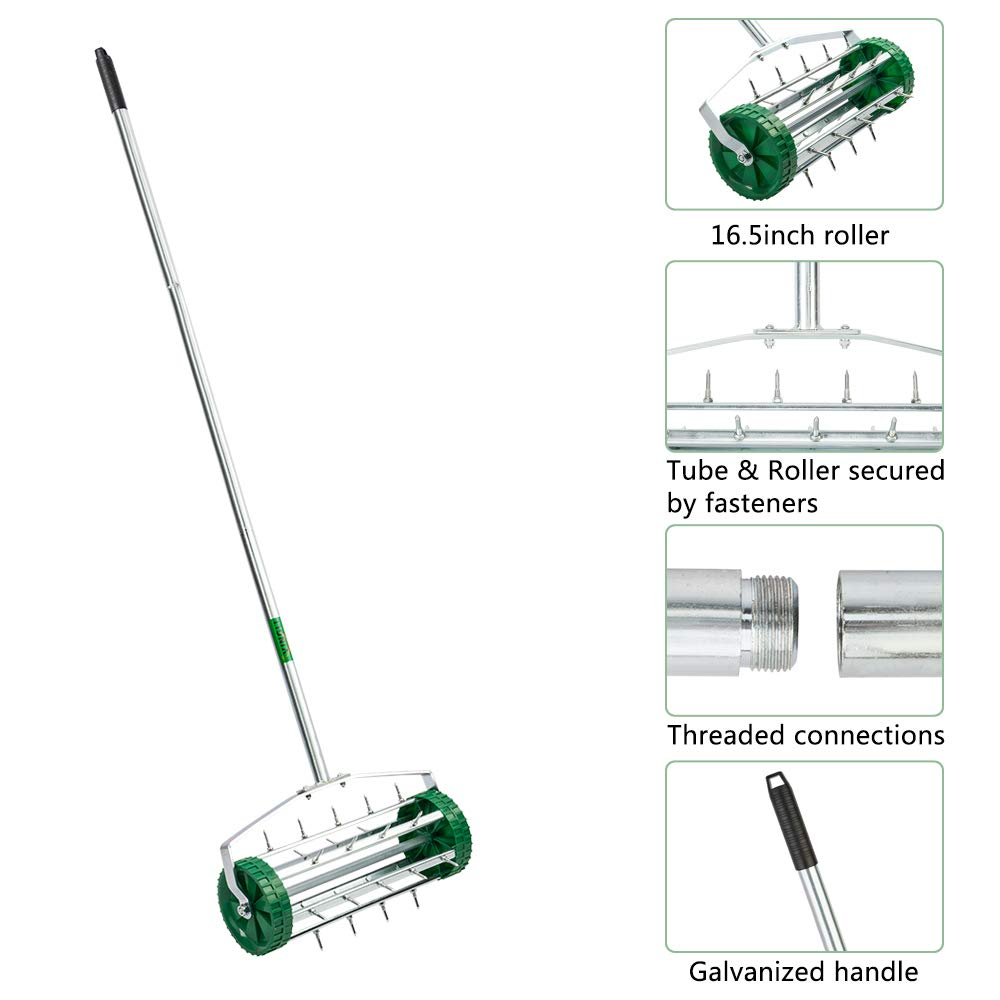 VINGLI Rolling Lawn Aerator with 51'' Handle, Push Spike Tine Roller for Home Garden Yard Patio Grass Soil Aeration, Roller Secured by Fasteners by VINGLI (Image #3)