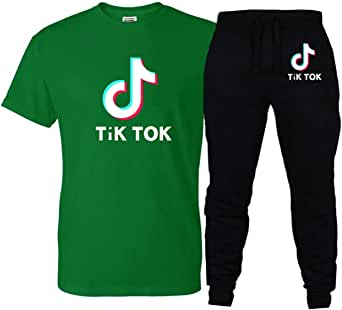 DXJJ Youth TIK TOK Tees Tracksuits Solid Printing T Shirt and Long Pants Sports Jogging Yoga Outfit
