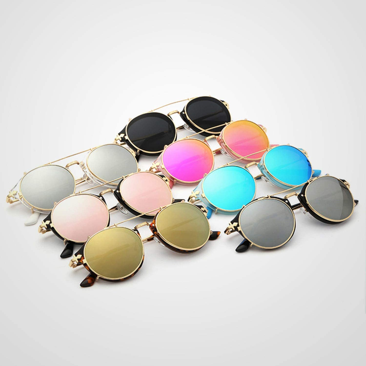 Sunglasses Round Steampunk Clip On Men Women Baroque Carved Legs Size With BOX