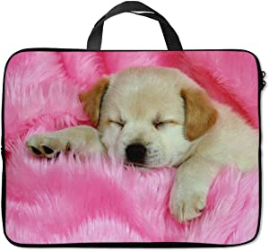 Britimes Laptop Sleeve Case Protection Bag Waterproof Neoprene PC Cover Water Resistant Notebook Handle Carrying Computer Protector Cute Dog 14 15 15.6 inches