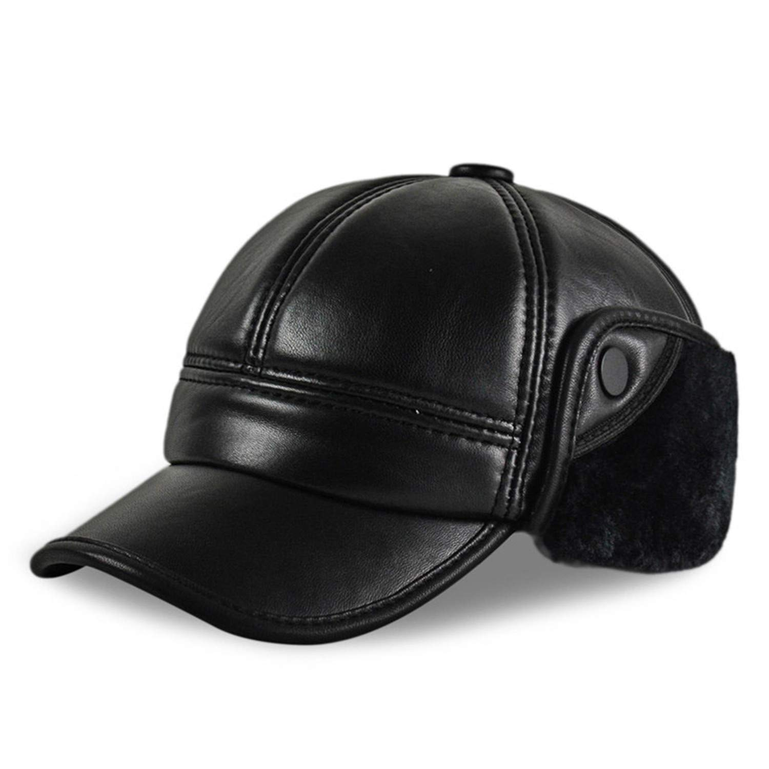 f1aa2ba26855df Genuine Leather Baseball Cap Hat Men's Winter Cow Skin Leather Hats Caps  Black with Faux Fur Inside Men's Hat at Amazon Men's Clothing store: