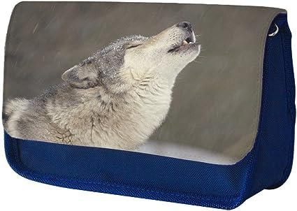 Animales 10015, Lobo, Azul Escuela Niños Sublimación Alta calidad Poliéster Estuche de lápices con Diseño Colorido. 21x13 cm.: Amazon.es: Oficina y papelería