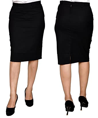 7950130f1b Roop Trading Co Cotton Women/Girls Formal Skirt in Black Colour Size  –26,28,32,34,36,38,40,42,44 inches: Amazon.in: Clothing & Accessories