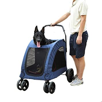 DODOPET Extra Large Pet Stroller Dog Trolley with Top Window Suitable for  15 – 55Kg (Blue)