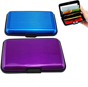 Yueton Pack of 2 Credit Card Wallet RFID Blocking Case - Credit Card Holder for Men & Women -Business Card Case (Purple,Blue)