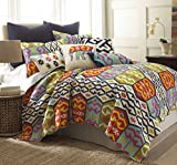 Levtex Home Malawi Quilt Set, Twin, Navy, Orange, Green