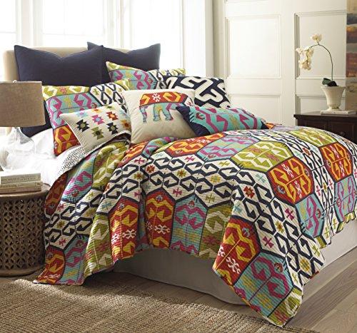 Levtex Home Malawi Quilt Set, Twin, Navy, Orange, Green by Levtex home