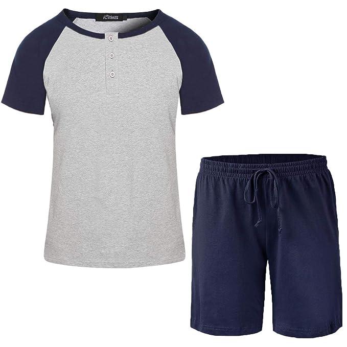 iClosam Pijama de Manga Corta de algod/ón para Hombre Verano Juego de sal/ón Super Suave para Dormir