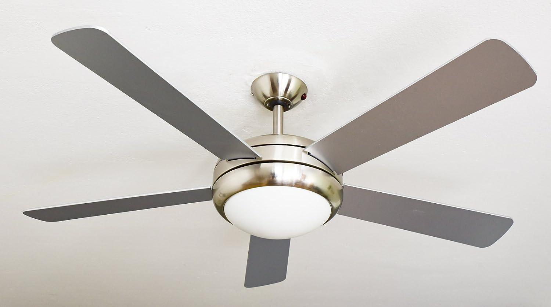 AireRyder Ventilador de techo Ursa con iluminación y control remoto, estructura de níquel satinado, color de las aspas Plata/Nogal, 132 cm, 75 W, 132 x 132 x 43 cm