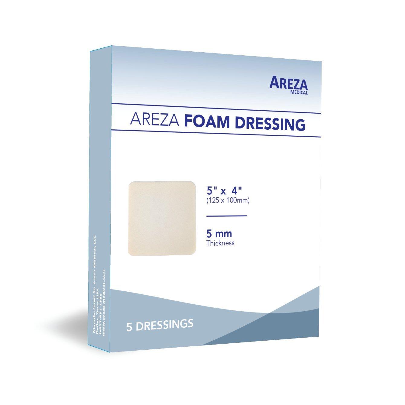 Foam Dressing Polyurethane 5''x4'' 12.5 Cm X 10 Cm Box of 5 Sterile (1)