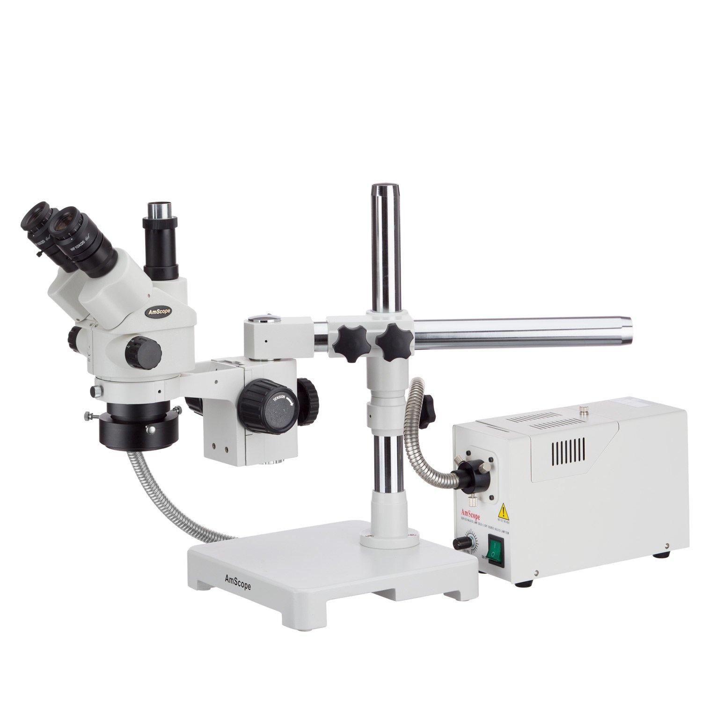AmScope 3.5X-180X Simul-Focal Stereo Lockable Zoom Microscope with Fiber Optic Ring Illuminator and 14MP USB3 Camera