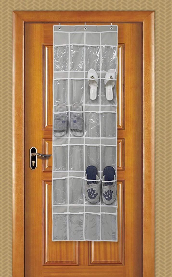 AnTeck 24 Tasche Porta Scarpe da Appendere per Appendere Pesanti scarpiere Scarponi Scarponi Organizer appesi sopra la Porta grigi0