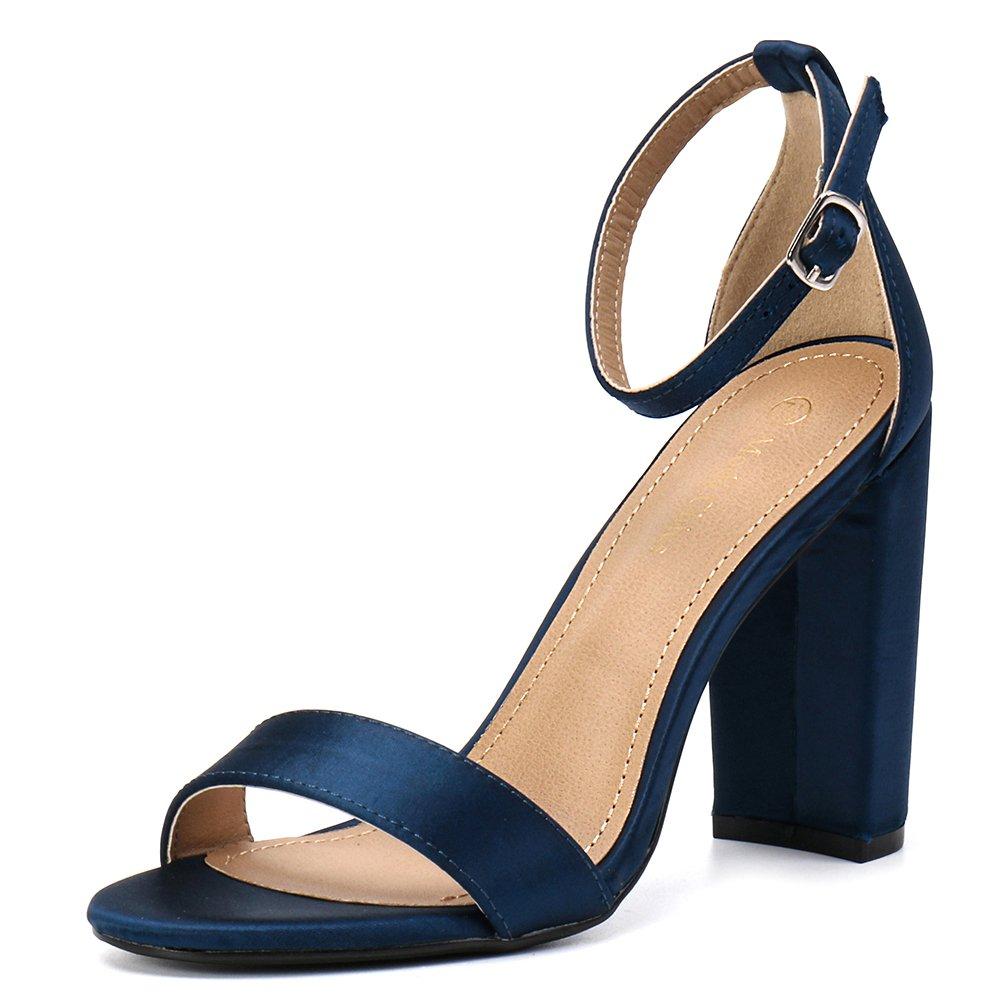 Moda Chics Women's High Chunky Block Heel Pump Dress Sandals Navy Satin 7.5 D(M) US