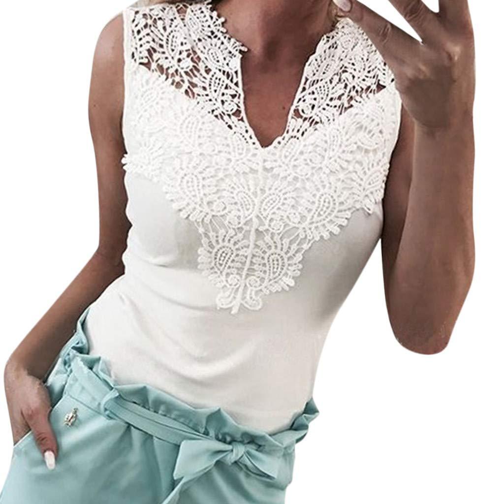 a4e0c32c6fb4aa Damen Oberteile Sommer Elegant Kurz Mode Solide Lace Sleeveless Patchwork  V-Ausschnitt Shirt Tank Weste