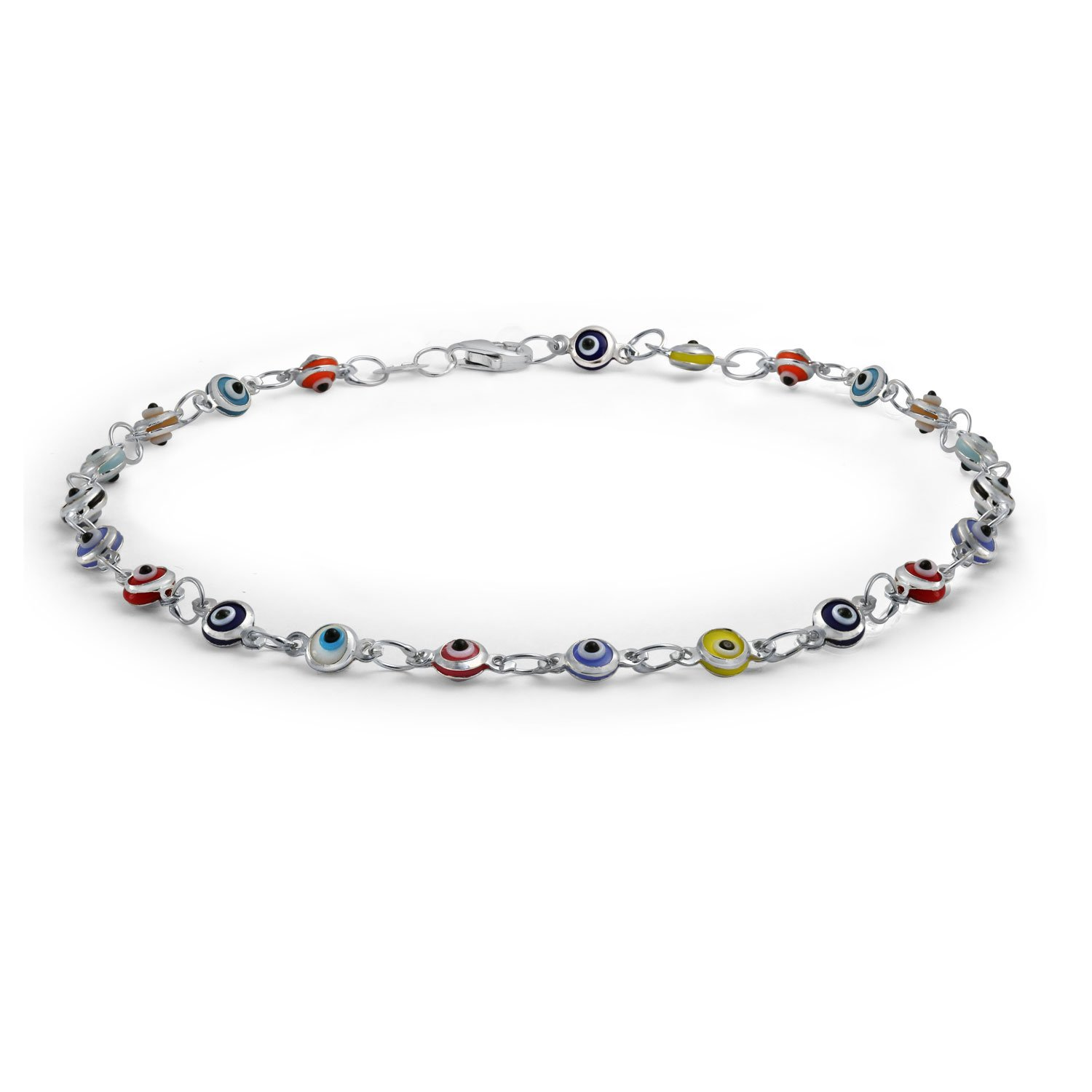 Bling Jewelry Multi Color Anklet Sterling Silver Evil Eye Ankle Bracelet 10in IY-6121-A-S