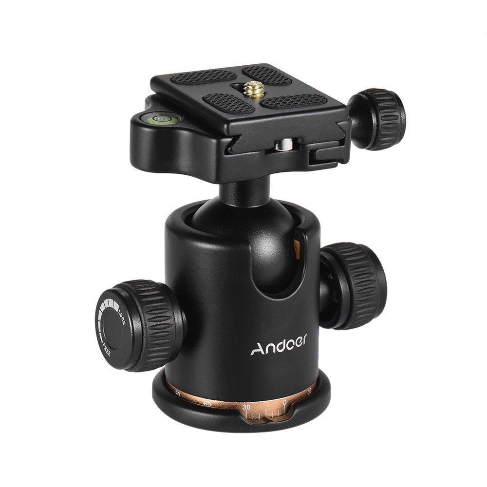 Andoer Tripod Head, 360 Degree Fluid Rotation Camera Tripod Ball Head with Quick Release Plate, Max Load 8kg/17.64lbs for Canon 5D markII III Rebel T6 Nikon D